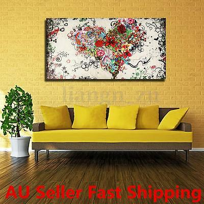 Modern Abstract Hand-Painted Heart Art Oil Painting Wall Decor Canvas NO Framed