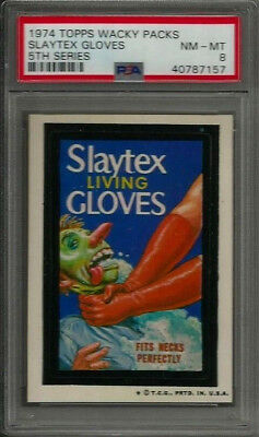 1974 Topps Wacky Packages Slaytex Gloves 5th Series PSA 8 NM-MT Non-sport Card