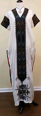 Ethiopian  Traditional Dress Embroidered Handmade Sz M