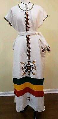 Ethiopian Traditional coffee dress Hand spun 100% Cotton one size 3 pieces