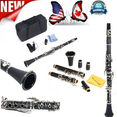 New Beginner Professional School Band Bb Clarinet with Case +Care Kit for Black