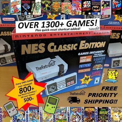 1300+ NES & Gameboy Games Modded Nintendo Mini Classic Console Quick Reset!