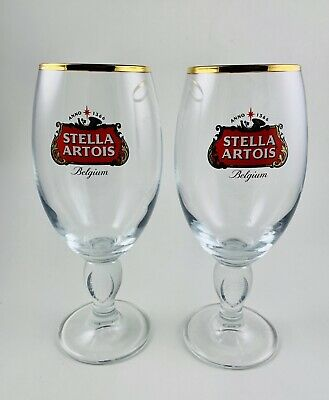 Stella Artois Belgium Gold Rimmed Glass Beer Chalice 33CL Set Of 2