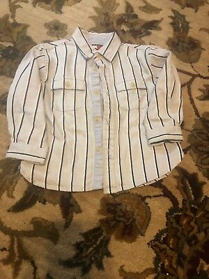Tommy Hilfiger toddler boy size 12-18 Month Blue Stripe long sleeve button shirt