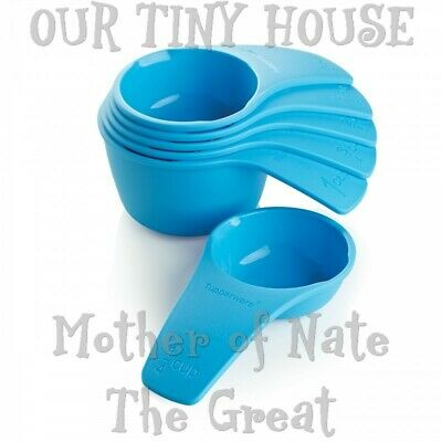 NEW Tupperware Measuring Cups Set of 6 Nesting Scoops Interlocking Blue FAST S&H