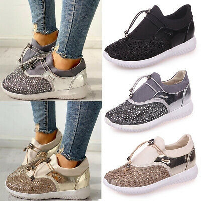 Women Rhinestone Sport Low Top Sneakers Running Trainers Casual Shose Size 5-8.5