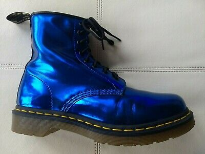 082b068dd5eb Doc Dr Martens Metallic Electric Blue Koram Flash Boots Rare Vintage 6Uk  Us:w8M7