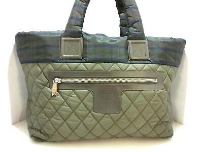 fceb11cf85ad Auth CHANEL Coco Cocoon Khaki DarkBrown Multi Nylon Leather Handbag