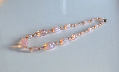 Rare Antique Art Deco French or Czech Pink Opaline Glass Graduated Necklace