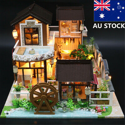 DIY Dollhouse Miniature Furniture Kit LED Kids Birthday Xmas Gift Model House