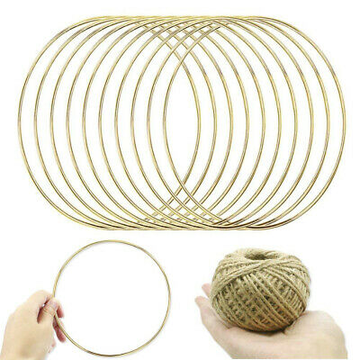 10* Metal Dream Catcher Dreamcatcher Feather Ring Craft Round Hoop Gold 150mm