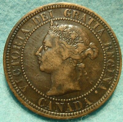 1888 XF High Grade CANADA LARGE CENT Victoria COIN NoRes CANADIAN <-