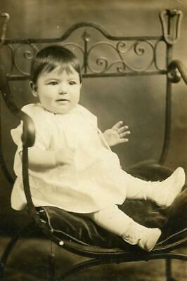 BT417 Vintage Photo RPPC BABY, WROUGHT IRON CHAIR, Providence RI  c Early 1900's