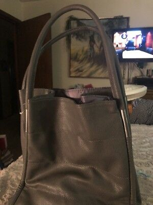 b9c57d8f7 NEIMAN MARCUS GRAY Faux Leather Tote Bag Purse BIG Lined Grey ...