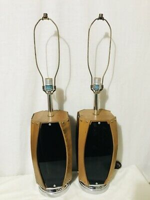 Pair Of Mid Century Teak Wood & Black Lucite Lamps - Chrome Base