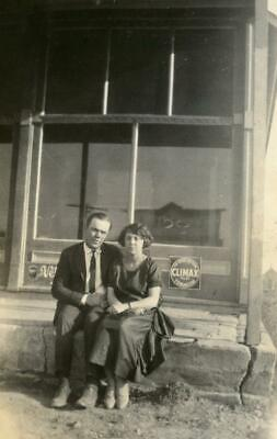 AB501 Vtg Photo COUPLE STORE STOOP, CLIMAX TOMACCO, NEHI SODA  c Early 1900's