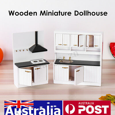 AU European Miniature Doll House Wooden Furniture 1/12 Kitchen Sink Cabinets Set