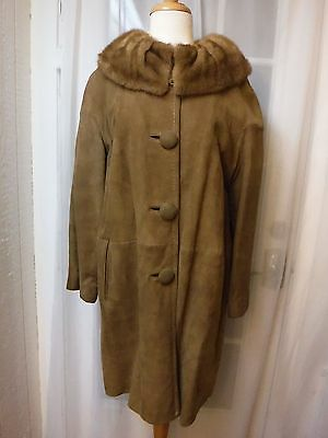 Genuine Shearling Leather&Mink Fur Collar Caramel Color Coat *Women M(10/12)*