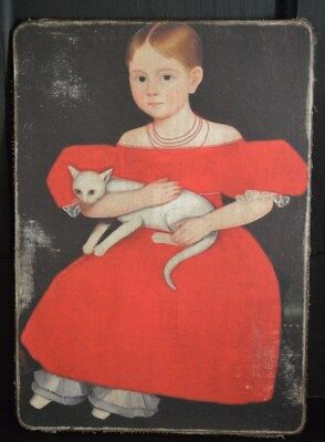 Handmade Primitive Folk Art Girl in Red with Cat Print on Canvas Board 5x7""