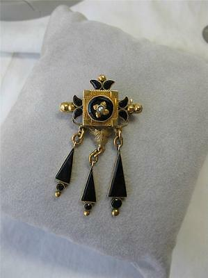 12K Gold Onyx Pendant Brooch Victorian Engraved c1870 Rare Mourning Jewelry