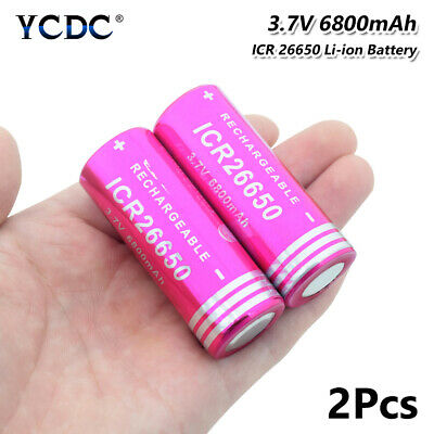 2x Rechargeable Li-ion 26650 Battery 3.7V 6800mAh With PCB For LED Flashlight E