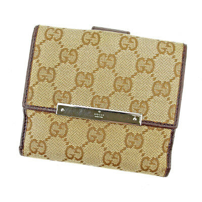 50c7d46ada9 Gucci Wallet Purse G logos Beige Brown Woman unisex Authentic Used T5376