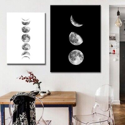 Living Moon-phases Canvas Painting Abstract Wall Art Home Decor Nordic Poster