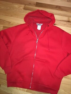 48399de4ffeb8 True VTG Mens Muleskins Red ZipJacket Hood Sz XLarge XL Pockets Fire Plush  EUC