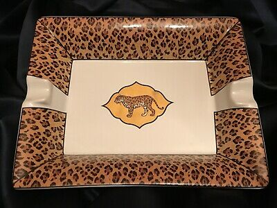 Retired 1994 Lynn Chase Amazonian Jaguar 22K Gold Porcelain Cigar Ashtray MINT!