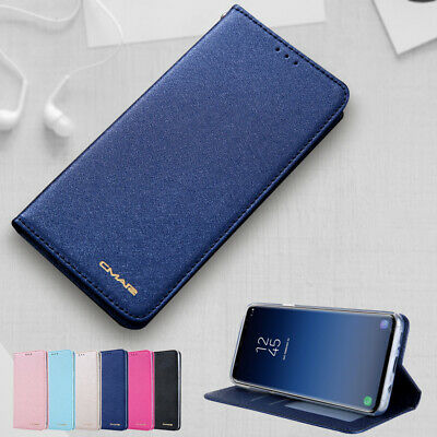 For Samsung S10 Plus S10 Case Luxury Silk Leather Wallet Magnet Flip Stand Cover
