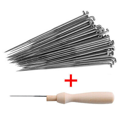 60pcs Felting Needles Tools Felt Wool Mat Pins Starter 3 Sizes W Wooden Handle