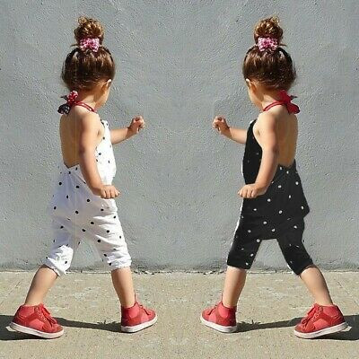 Toddler Kids Baby Girls Dot Strap Rompers Jumpsuits Tops Pants Clothing Outfits
