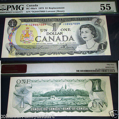 ASTRISK REPLACEMENT BANKNOTE *IG , $1 Bank Of Canada 1973  PMG 55 , ABOUT UNC