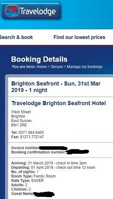 travelodge Brighton seafront 31th march, one night, family room
