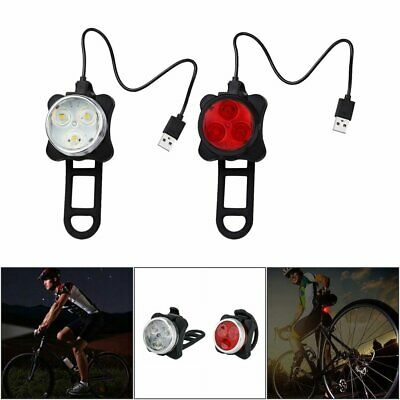 IPX4 Waterproof Bicycle Bike Lights Front Rear Tail Light Lamp Rechargeable KU