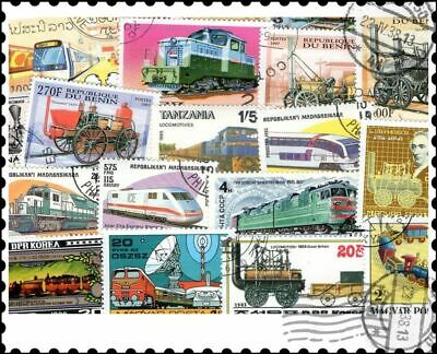 Trains : 100 Different Stamps Collection
