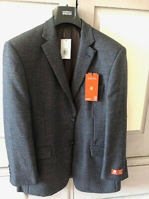 Men's Marks and Spencer Worsted Brown mix pure new wool jacket Size 40 Short