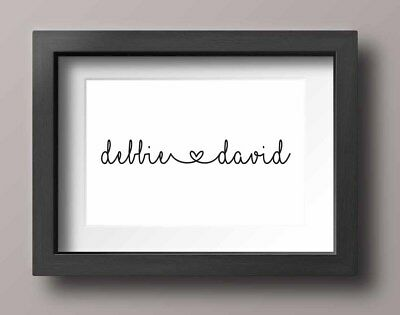 A4 Couples Names Personalised Love Minimalist Monochrome Wall Print Decor