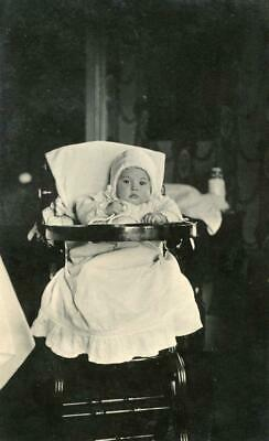 MC42 Vtg Photo BABY HIGH CHAIR BOTTLE BONNET & GOWN c  Early 1900's