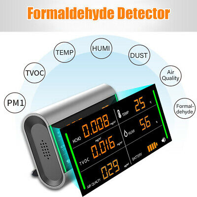 5 IN 1 Air Quality Detector Dust Sensor LCD Display Monitor PM2.5 HCHO TVOC Home