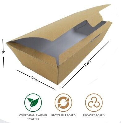 Kraft Compostable Takeaway Chips Serving Box Recyclable Multi Food Boxes EN13432