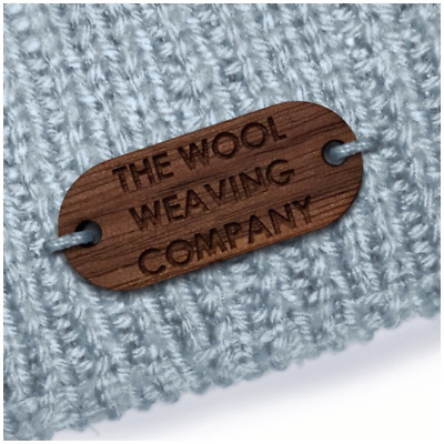 Walnut Wood OBLONG Tags 20mm x 16mm Wooden Add: Any text, an image or your logo