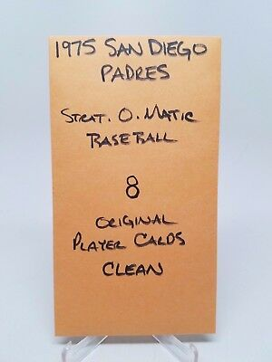 1975 Strat-O-Matic Baseball San Diego Padres 8 Original Player Cards