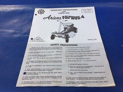 1966 Ariens Fairway 4 Riding Mower Tractor OEM Instruction Owners & Parts Manual