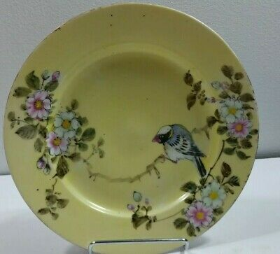 """Antique Hand Painted Asian Plate 8 3/8"""" Blue Back Bird on Branch"""