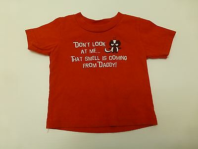 Little Teez T Shirt Baby Boys Size 12M Red Smells Coming From Daddy Great Shape