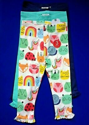 New Next Baby Girls 3 Pack Leggings Age 12 18 24 Months Multi Bright Unicorn Set