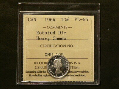 1964 Canada 10 Cents ICCS  PL-65 Rotated Die Heavy Cameo Mint State #2932