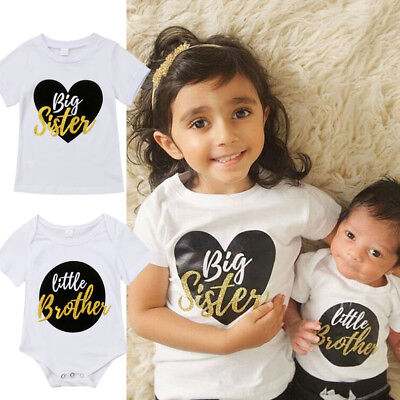 UK Little Brother Kids Baby Boy Romper Bodysuit Big Sister T-shirt Tops Outfits