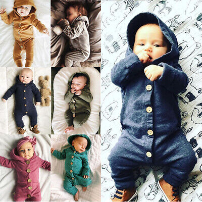 UK 0-2T Kids Baby Boy Girl Hoodie Cotton Hooded Romper Jumpsuit Clothes Outfits
